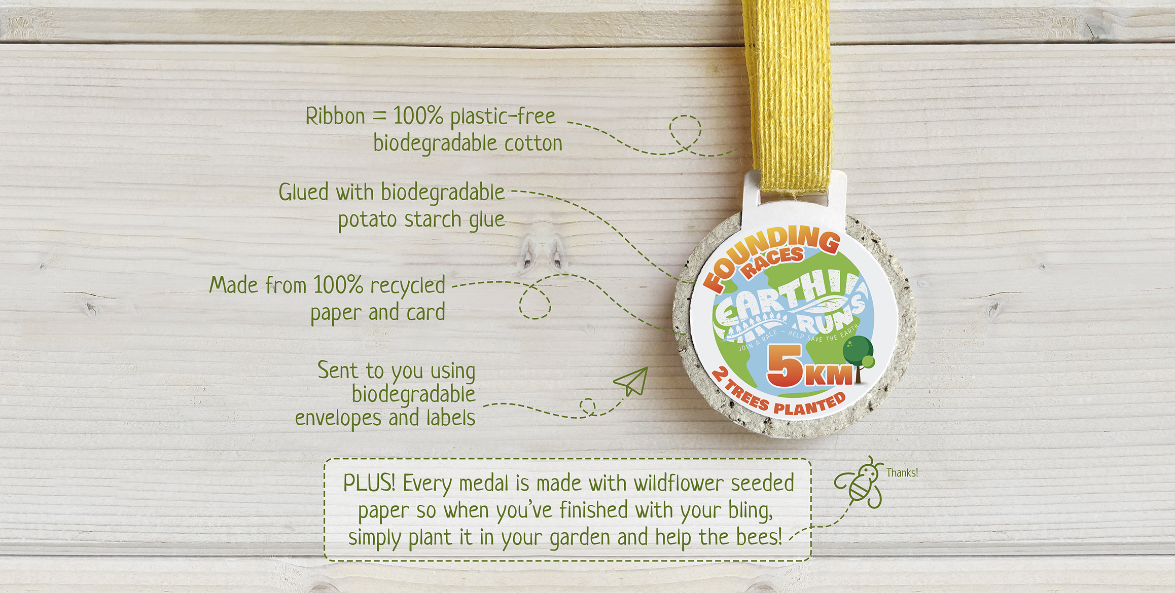 Plastic Free seeded medals
